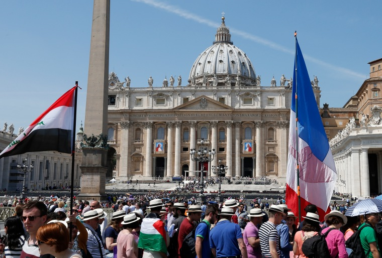 Preparation for the canonization of Blesseds John XXIII and John Paul III in St. Peter's Square at the Vatican